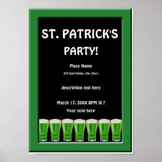 Poster Affiche 2 de la partie de St Patrick vert de bière