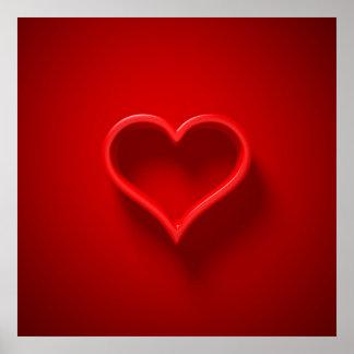 Poster Affiche 3D forme de coeur avec la lumière et une