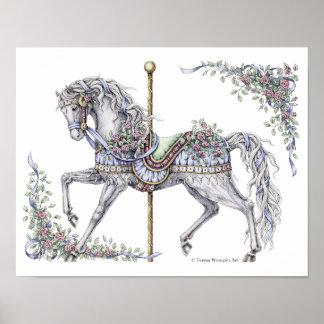 Poster Affiche à l'encre de dessin de cheval de carrousel
