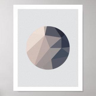 Poster Affiche abstraite 1 de cercle de rose et de gris