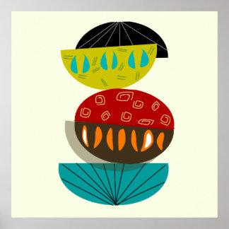 Poster Affiche abstraite moderne #56 de la moitié du