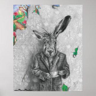Poster Affiche Alice de lièvres de mars en affiche du