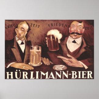 Poster Affiche allemande vintage Hurlimann d'art de Pub