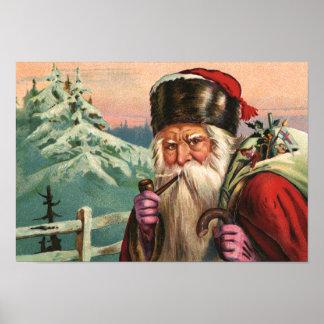 Poster Affiche alpine de Père Noël