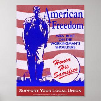 Poster Affiche américaine de liberté de Pro-Union