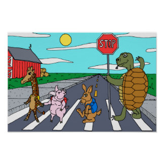 Poster Affiche animale de passage piéton