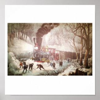 Poster Affiche attachée de train de neige