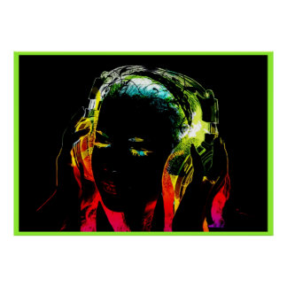 Poster affiche au néon de graphique de fille du DJ