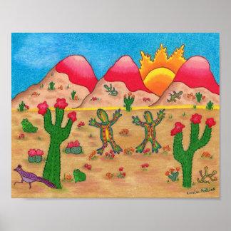 Poster Affiche avec des geckos de cactus et de danse