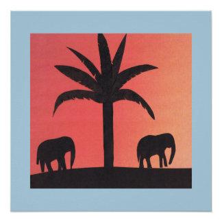 Poster Affiche avec des silhouettes des éléphants et