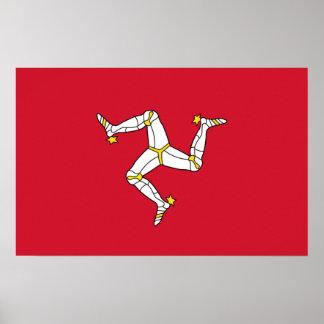 Poster Affiche avec le drapeau d'île de Man, R-U