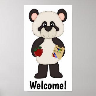Poster Affiche bienvenue de panda d'école