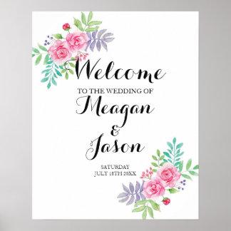 Poster Affiche bienvenue épousant les roses pour