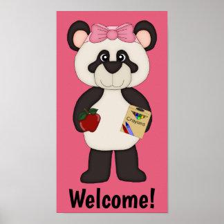 Poster Affiche bienvenue rose de panda de fille d'école