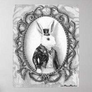 Poster Affiche blanche Alice de lapin en affiche du pays