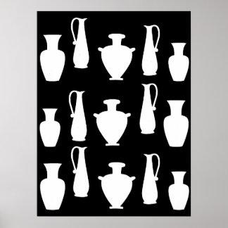 Poster Affiche blanche géniale de pots de vases au grec