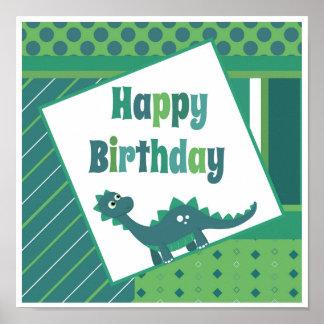 Poster Affiche bleue de dinosaure de vert de joyeux