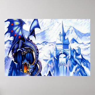 Poster Affiche bleue de dragon d'imaginaire