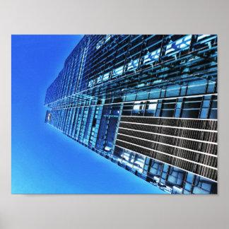Poster Affiche bleue du bâtiment industriel A4