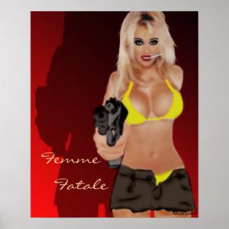 Poster Affiche blonde dangereuse de Femme Fatale d'ombre