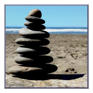 Poster Affiche brillante de vue d'océan de pile de roche