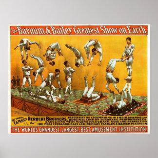 Poster Affiche célèbre de cirque de trois frères