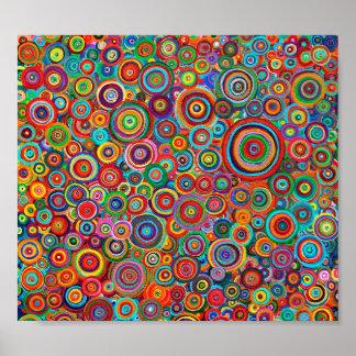 Poster Affiche - cercles psychédéliques d'art