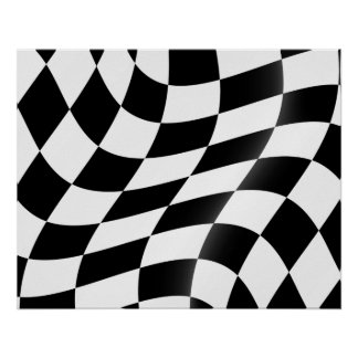 Poster Affiche Checkered de drapeau