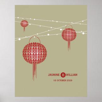 Poster Affiche chinoise de mariage de doubles lanternes