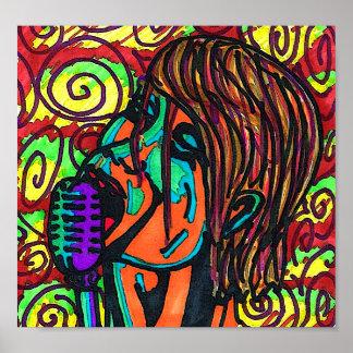Poster Affiche colorée de chanteur