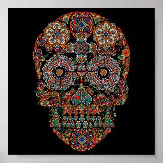 Poster Affiche colorée de crâne de sucre de fleur
