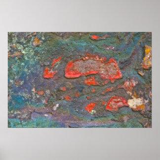 Poster Affiche colorée de peinture de la roche de la