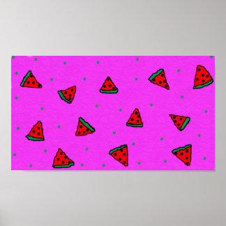 Poster affiche colorée de rose de pastèque