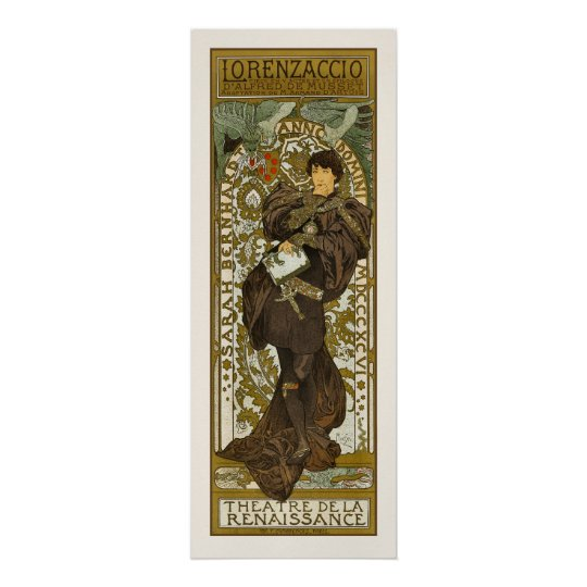 poster affiche copie mucha lorenzaccio art nouveau. Black Bedroom Furniture Sets. Home Design Ideas
