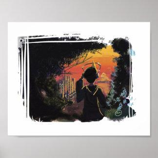 Poster Affiche - coucher du soleil lo-fi par micgurro