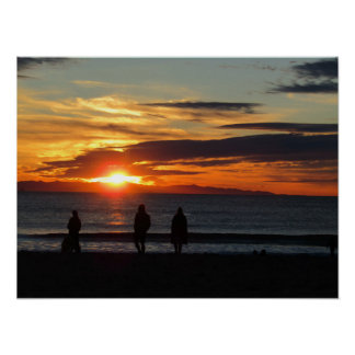 Poster Affiche : Coucher du soleil sur la plage de