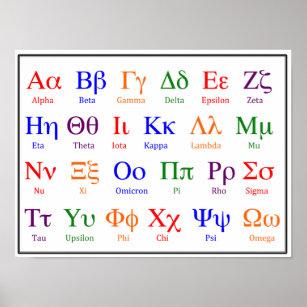 Poster Affiche d'alphabet grec--Supérieur et minuscule