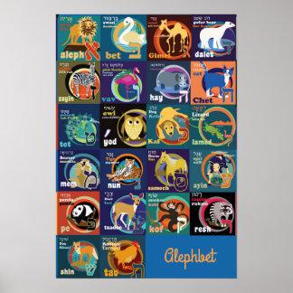 Poster Affiche d'alphabet hébreu