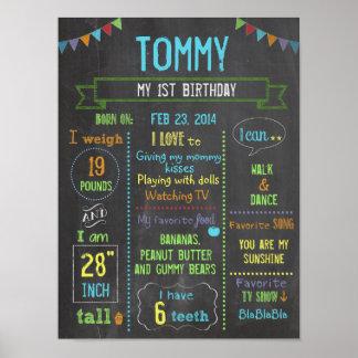 Poster Affiche d'anniversaire de garçon personnalisée par
