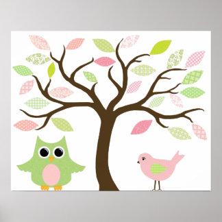 Poster Affiche d'arbre, de hibou et d'oiseau pour la pièc