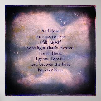 Poster Affiche d'art de poème de bénédiction de sommeil