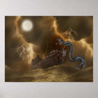 Poster Affiche d'art d'imaginaire de bateau de Drogon