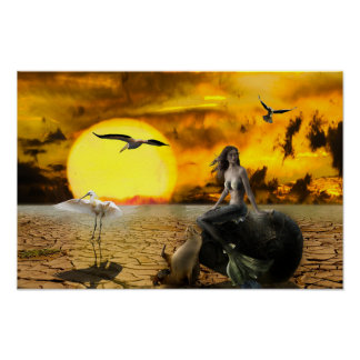 Poster Affiche d'art d'imaginaire de désert de sirène