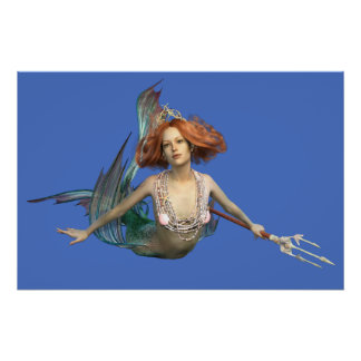 Poster Affiche d'art d'imaginaire de sirène
