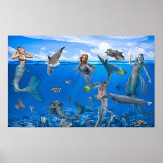 Poster Affiche d'art d'imaginaire de sirènes et de