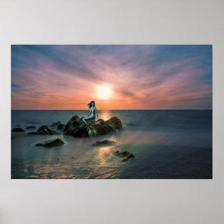 Poster Affiche d'art d'imaginaire d'océan de coucher du