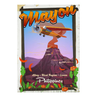 Poster Affiche d'aventure du volcan Mayon Philippines