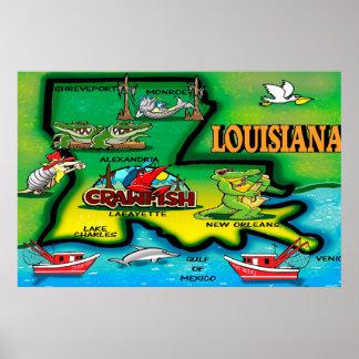 Poster Affiche de bande dessinée d'état de la Louisiane