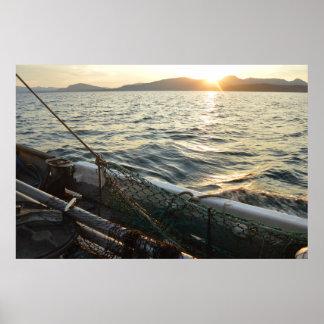 Poster Affiche de bateau de pêche
