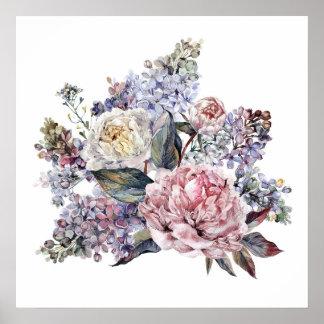Poster Affiche de bouquet d'aquarelle